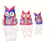 Owl Family Miniature, White, Rust, Pink, Burgundy, Silver, Dark Blue, Silver toned Polymer Clay