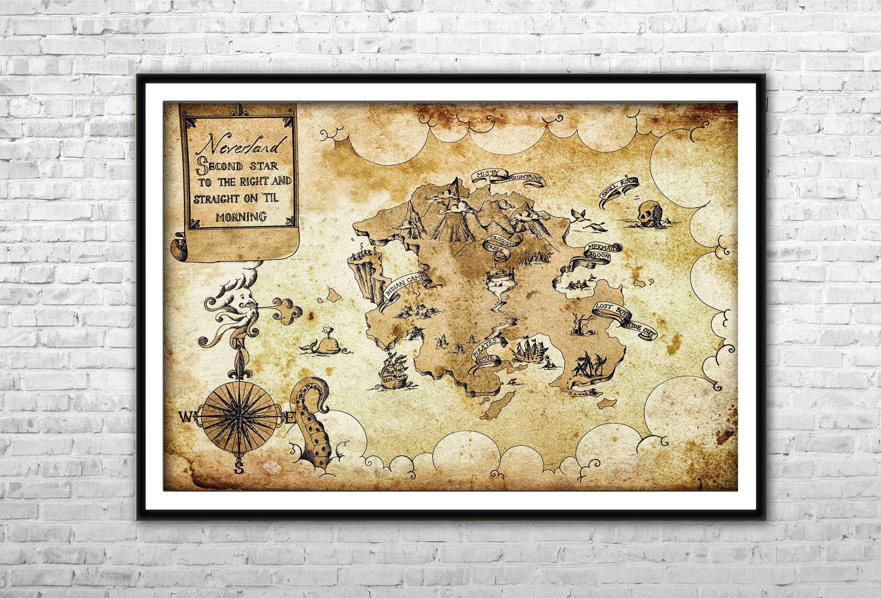 Neverland Map Peter Pan Nursery Archival Paper Canvas Print Peter ...
