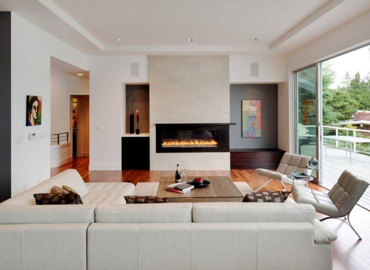 kleines wohnzimmer großes sofa leder wohnlandschaft kamin ...