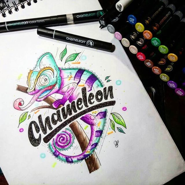 Loving This Chameleon Artwork By Suphiie Using Their Chameleon Pens Chameleonpens Pen Marker Alcohol Chameleon Art Chameleon Pens Markers Chameleon Color
