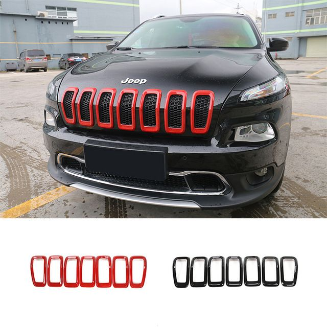 For Jeep Cherokee 2014 Up Red Black Abs 3d Front Insert Mesh Grill