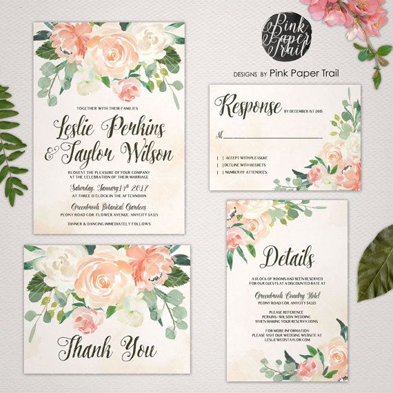 Printable Wedding Invitation Vintage Style in Peaches and Cream ...