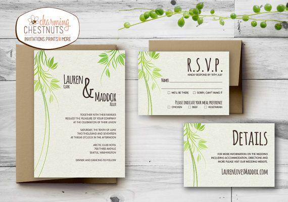 Green leafy Wedding Invitation Set, Printable wedding invitation, Personalized wedding invitation, Green, Leafy