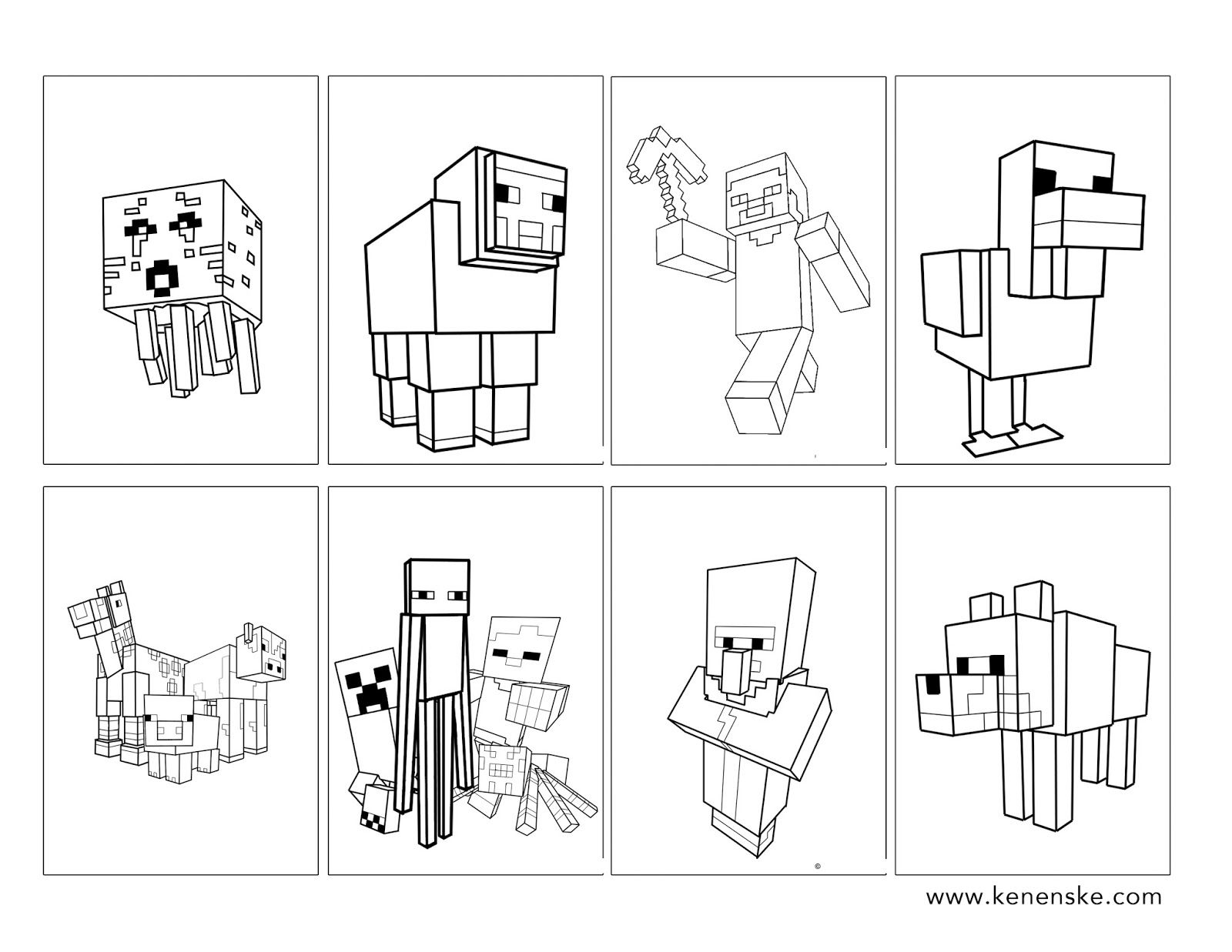 Minecraft Party With Free Printables Minecraft Coloring Pages Free Kids Coloring Pages Minecraft Party