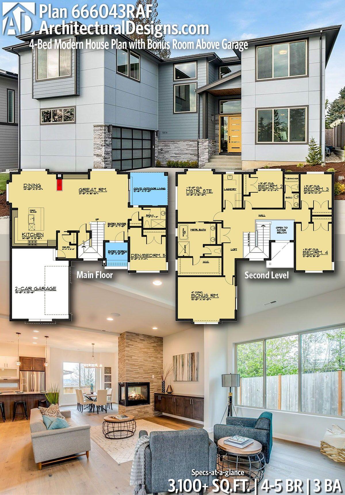 Plan 666043raf 4 Bed Modern House Plan With Bonus Room Above Garage House Plans Modern House Plan Modern House Plans