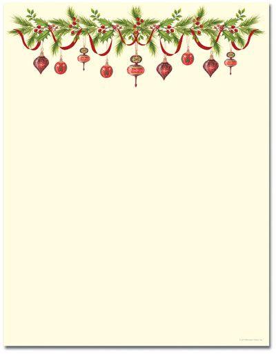 GrandmaS Ornaments Letterhead  Holiday Papers