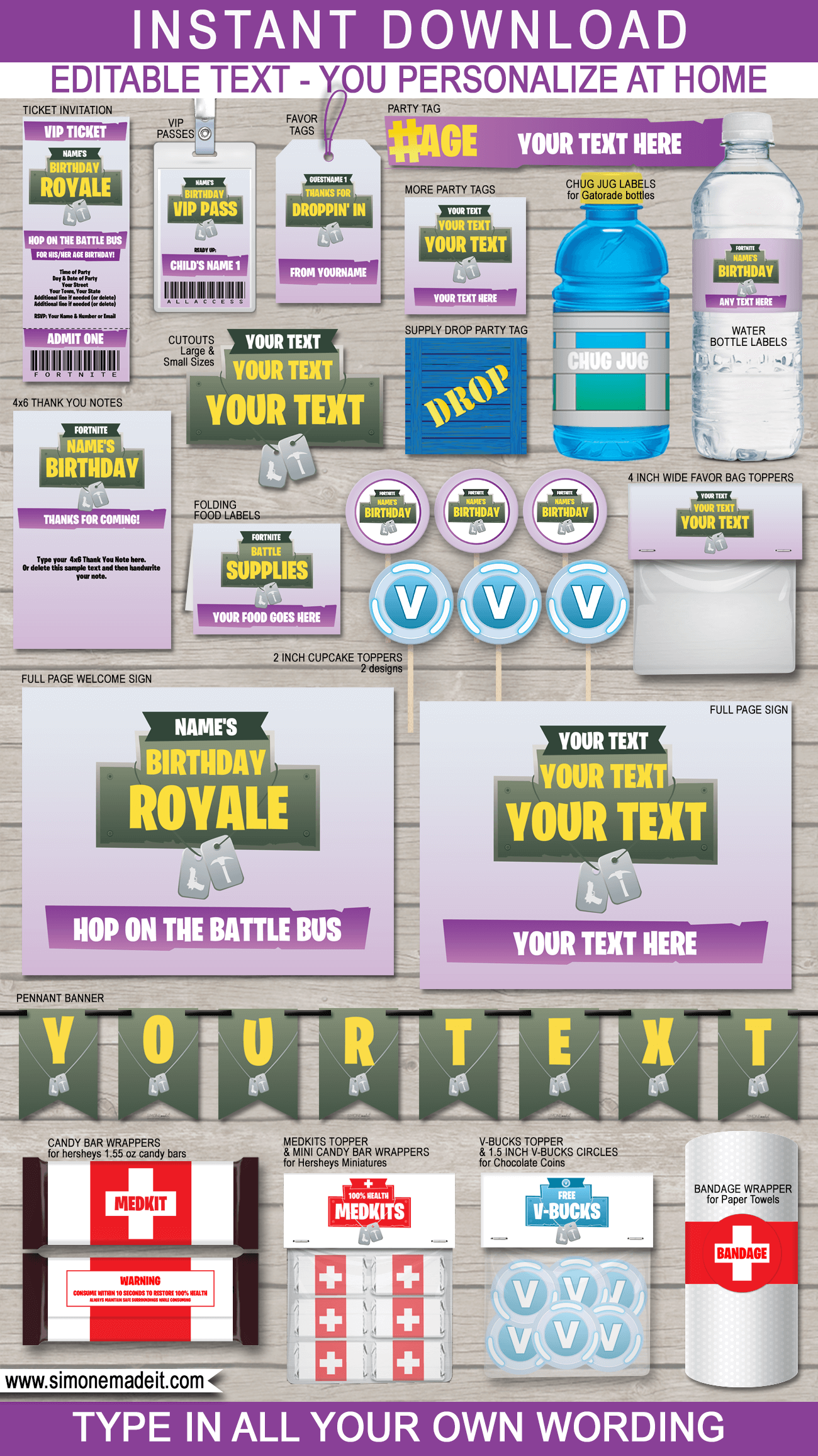Fortnite Party Printables Decorations Invitations Purple