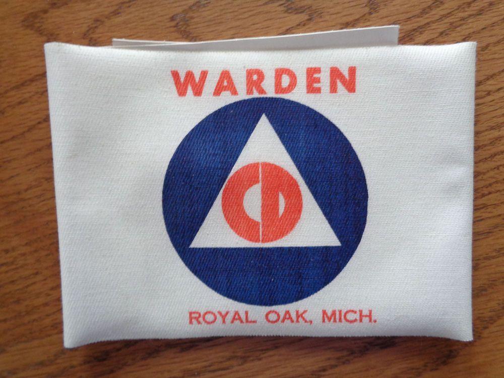 WWII Era US Civil Defense CD Air Raid Warden Armband Arm Band