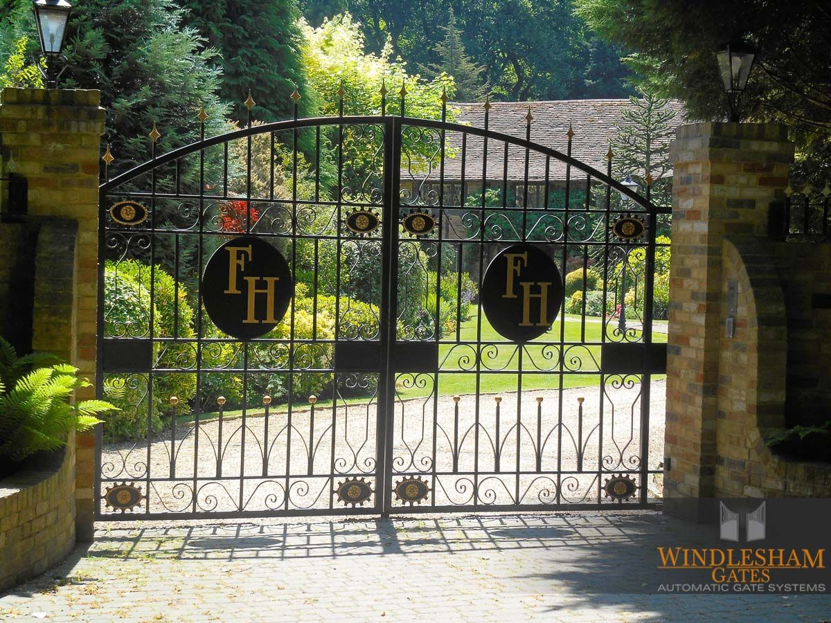 Wrought Iron Driveway Gates With Personalised Initials