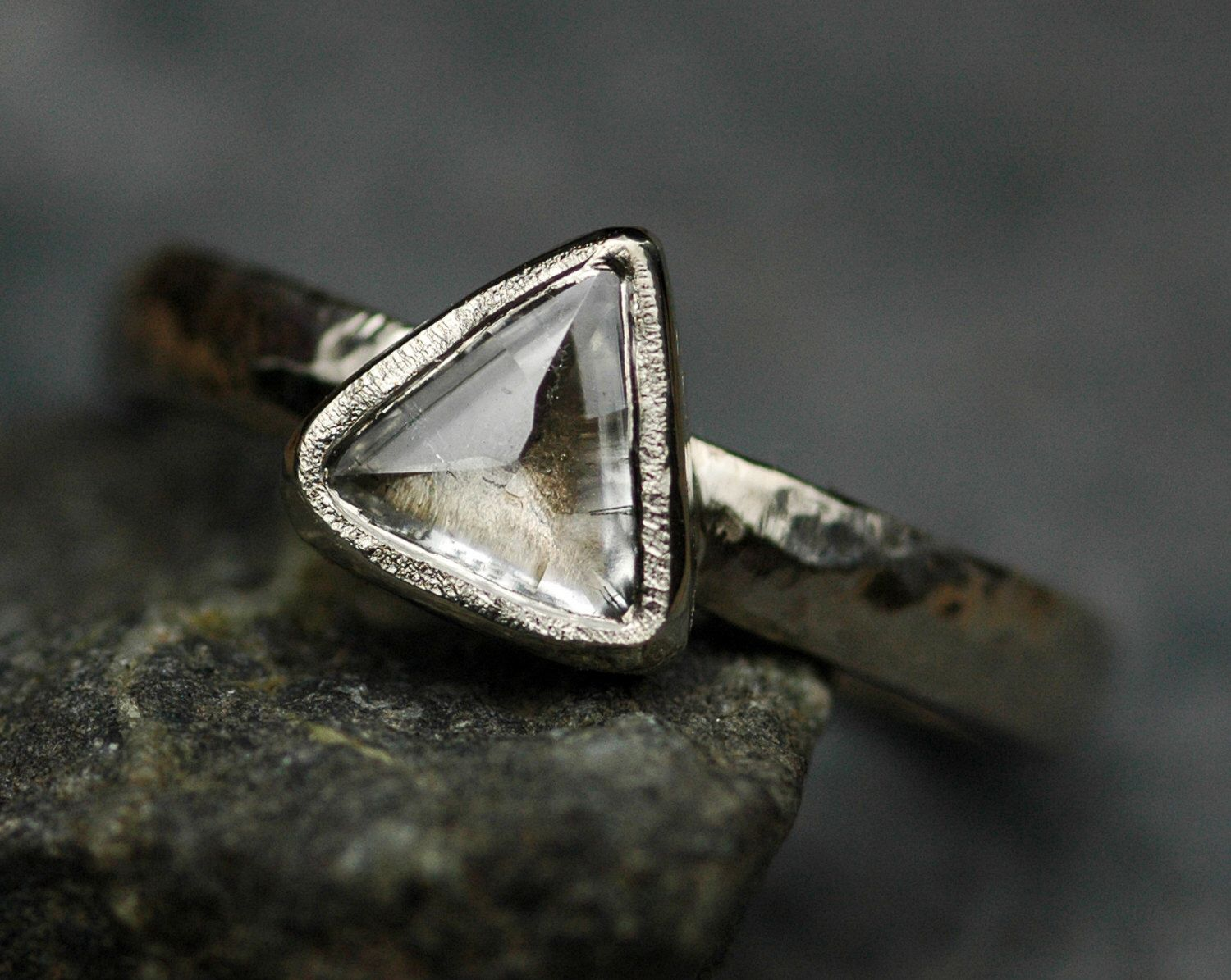 Engagement Ring Canadian Raw Diamond in Recycled 18k Gold