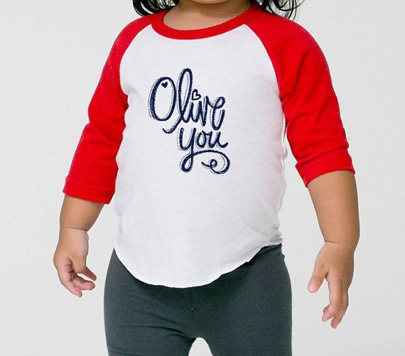NEW  Valentines Day Olive You Raglan Baseball Tee With Artwork By JandPaper Available In Matching Mommy And Me Styles Ships weekend of 1/25, $20.00 | For Hendrix