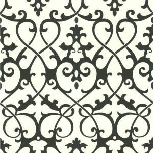 Jacques Black Ironwork Wallpaper is part of Home Accents DIY Half Baths - A gorgeous black and white damask wallpaper pattern with swirling trellis work, this designer choice is strikingly poised  Combining both a traditional style with a modern twist, this transitional wallpaper with a ironwork design, is perfect middleground for those who style is somewhere in between contemporary and classical  This black wallpaper, dominated by the darkest and most sophisticated hue of the color spectrum, is classic and dramatic
