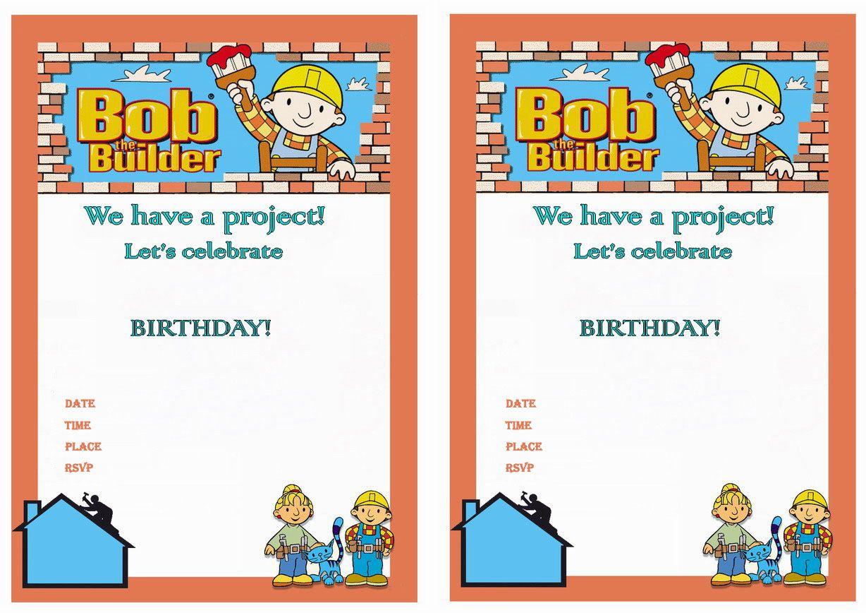 Bob The Builder Birthday Invitations Birthday Printable Birthday Party Invitations Printable Printable Invitation Templates Printable Birthday Invitations