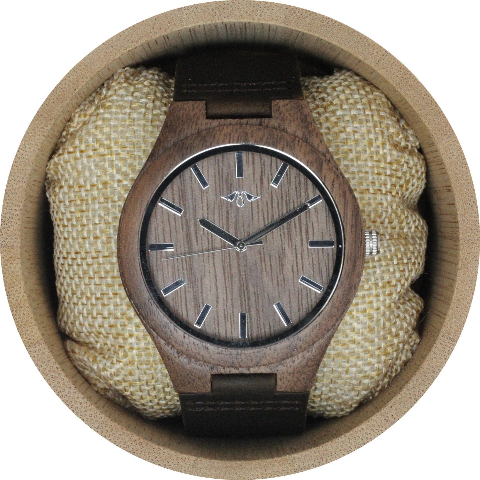 Engraved Walnut Wood Men's Watch With Brown Leather Strap,Leather Wood Watch,Men Watch,Engrave Watch,Personalized Watch,Fiance gift(W101)