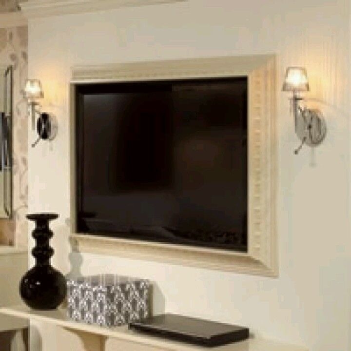 DIY frame for a flat screen tv using crown molding   TV stand ...