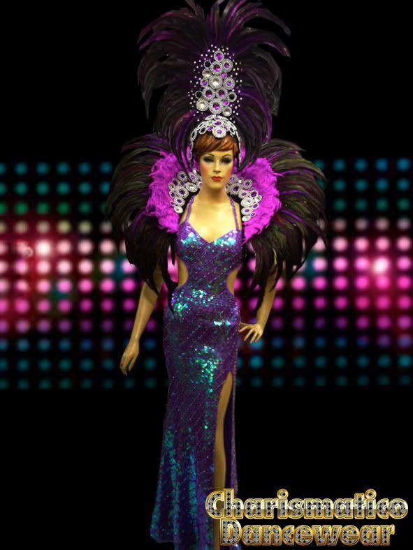 ebd17f00dac8 drag queen costume | ... Purple Pageant Drag Queen Cabaret Feather  Headdress Costume Set | eBay