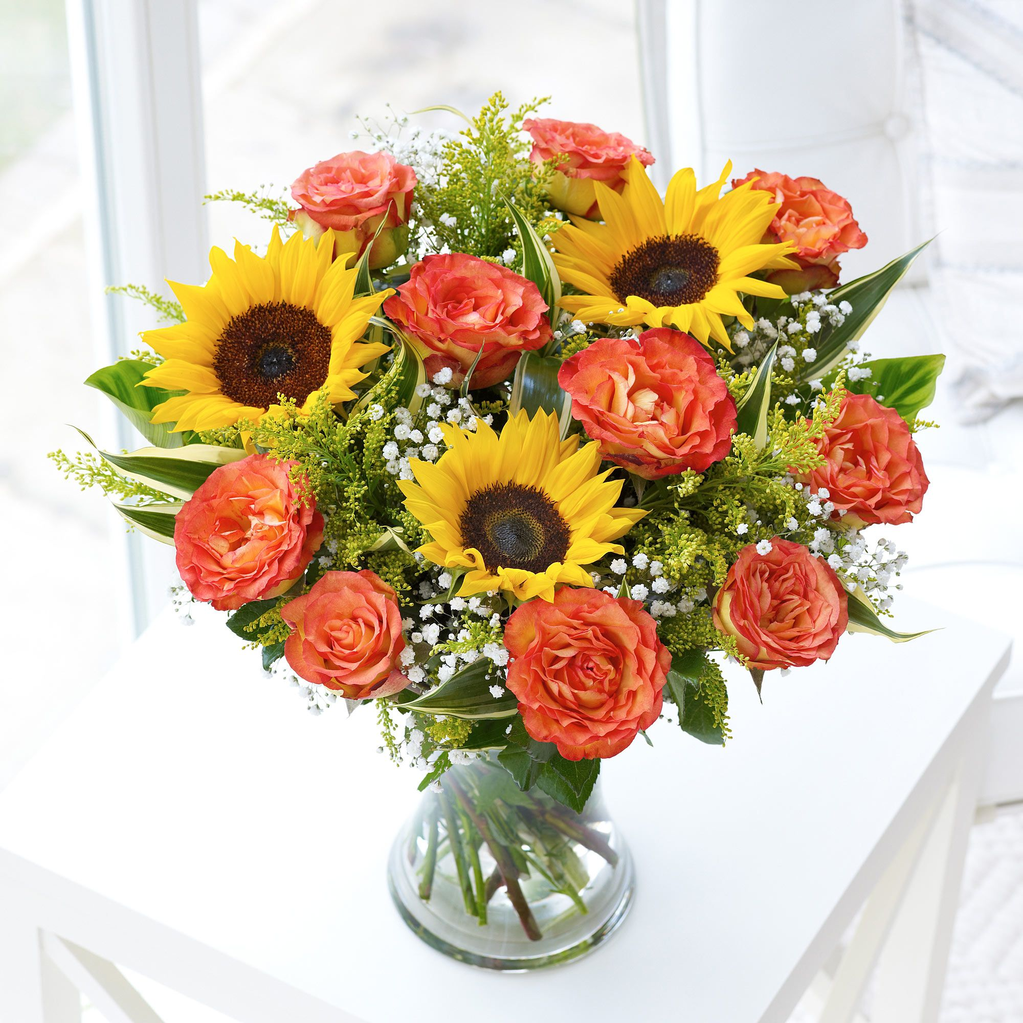 To celebrate a summer wedding add this beautiful fairtrade to celebrate a summer wedding add this beautiful fairtrade sunflower and rose arrangement to your table izmirmasajfo