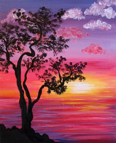 Sun Going Down Behind A Purple Sky Landscape Paintings Acrylic