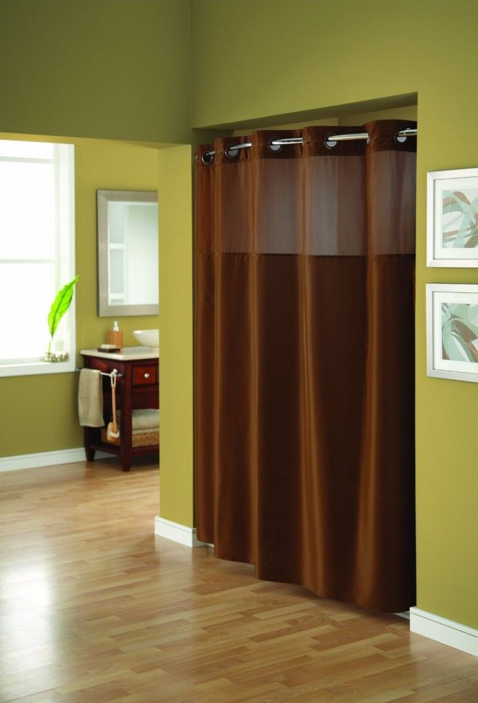 Hookless Shower Curtain With Window Decorating A Bathroom : Brown ...