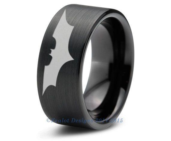 Batman Tungsten Wedding Band Ring Mens Womens Brushed Pipe Cut