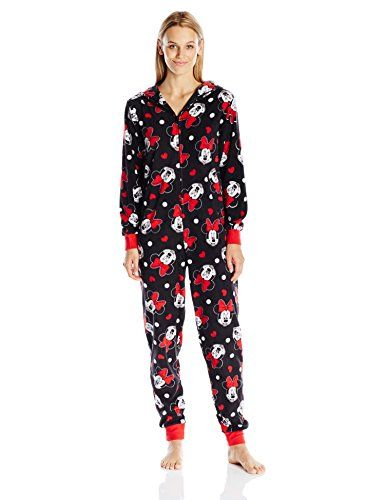 0146baea9 Disney Womens AllOver Print Minnie Mouse Onesie Pajama Black Large ...