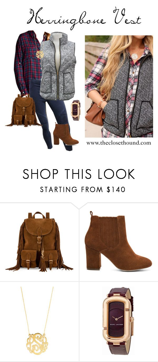 """""""Herringbone Vest"""" by theclosethound on Polyvore featuring Yves Saint Laurent, Steve Madden, BaubleBar and Marc by Marc Jacobs"""