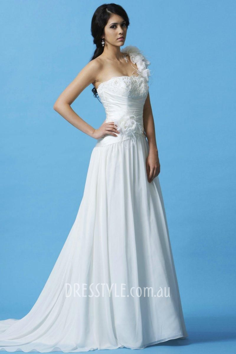 Rosettes feathers one shoulder aline pleated chiffon wedding dress