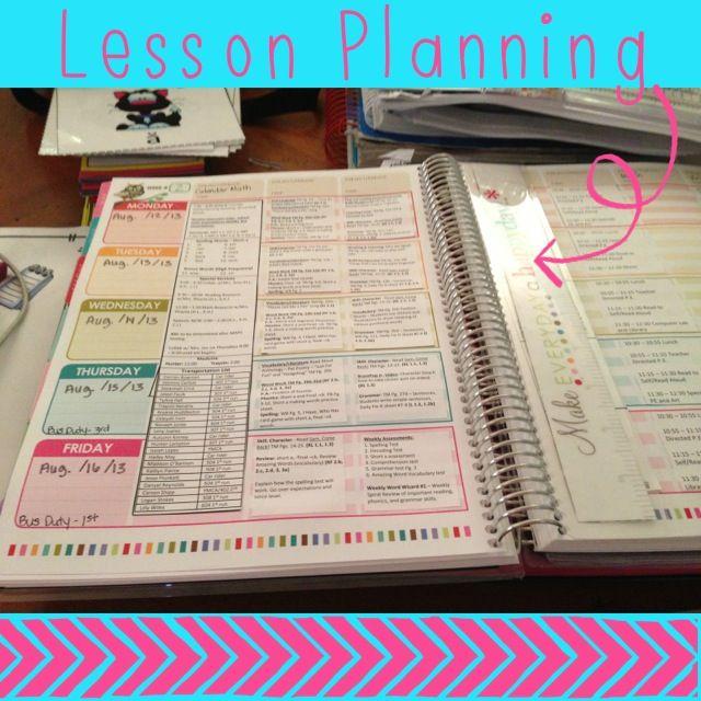 Erin Condren Teacher Planner Lesson Plan Template First Grade Brain