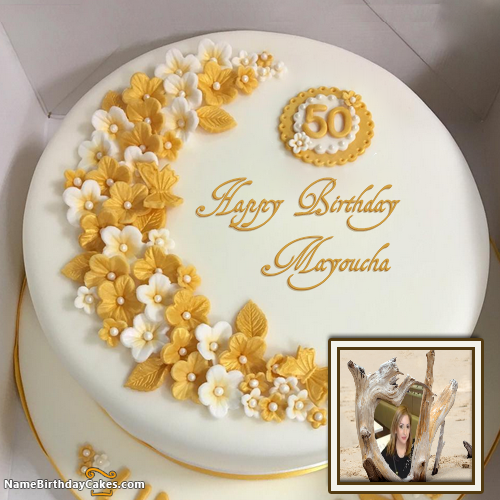 Swell Awesome Happy 50Th Birthday Cakes With Name Mayoucha With Personalised Birthday Cards Veneteletsinfo