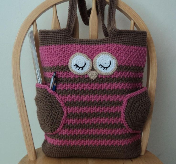 Sleepy Owl Bag - PDF Pattern by Karla Sandoval #crochet #crochetpatterns