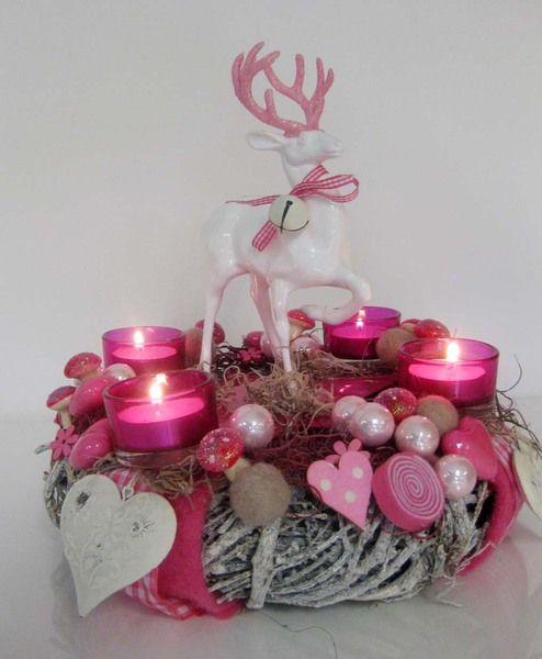 adventskranz ein traum in rosa pink von kunstbedarf24. Black Bedroom Furniture Sets. Home Design Ideas