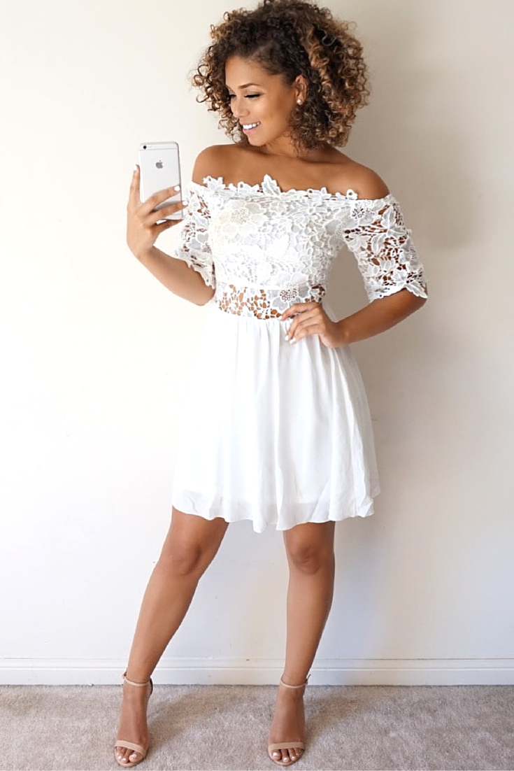 Lace off shoulder summer dress from Miss Pap! #graduationdresses ...