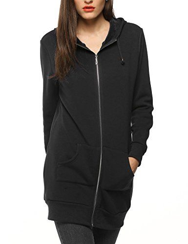 d7bb687ec5f3 sholdnut Womens Zip Up Casual Solid Long Sweatshirt Tunic Hoodie With Pocket