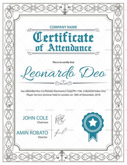 Attendance Certificate Template Free Certificate Of Appreciation