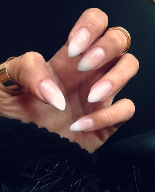 white to nude graident almond nails | Tumblr | Stiletto Nails ...