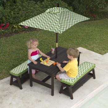 Kidkraft Fun In The Sun Table And Benches With Umbrella Table