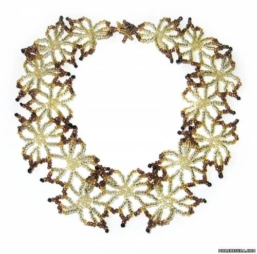 Схема колье - Колье - Схемы плетения бисером - Сокровищница статей - Плетение бисером украшений, деревьев и цветов, схемы мк