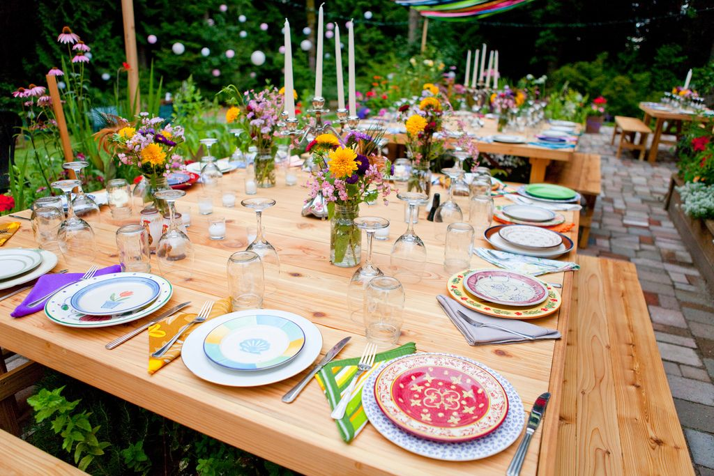 tableware for weddings. sean\u0027s mom found these awesome farm tables online. you can also rent the non-matching plates, wine glasses and. tableware for weddings
