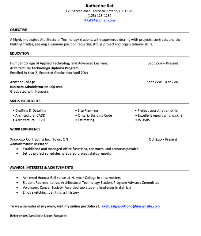 Resume Of An Architect Free Resume Sample Resume Template Examples Resume Resume Design Template