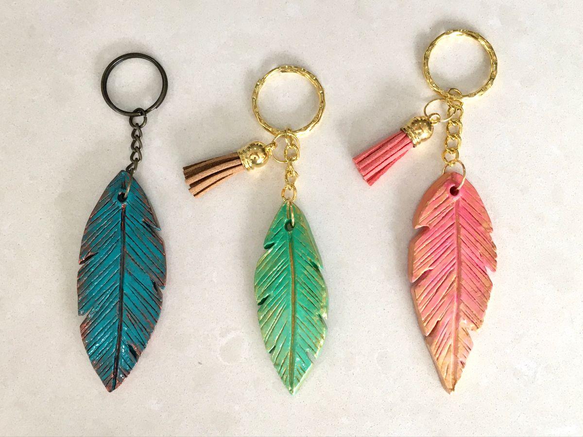 Feather Clay Keychains Clay Keychain Diy Air Dry Clay Polymer Clay Jewelry Diy