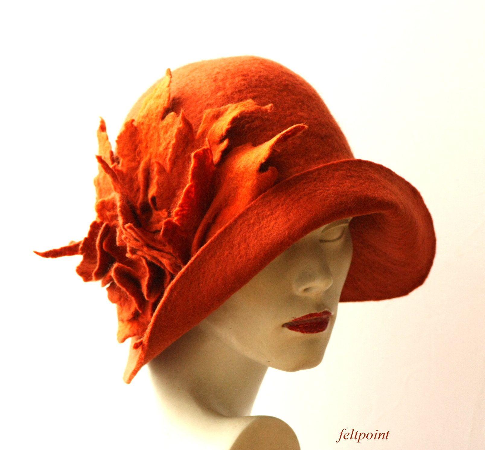 Rust Cloche Hat Felted Hat Felt Hats Womens Hat Cloche Hats Etsy Hats For Women Retro Hats Victorian Hats