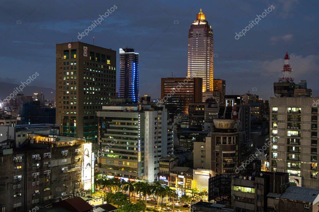 Taipei city night view from Ximen,Taipei city, Taiwan, Aug 20, 2019 - Sto ,