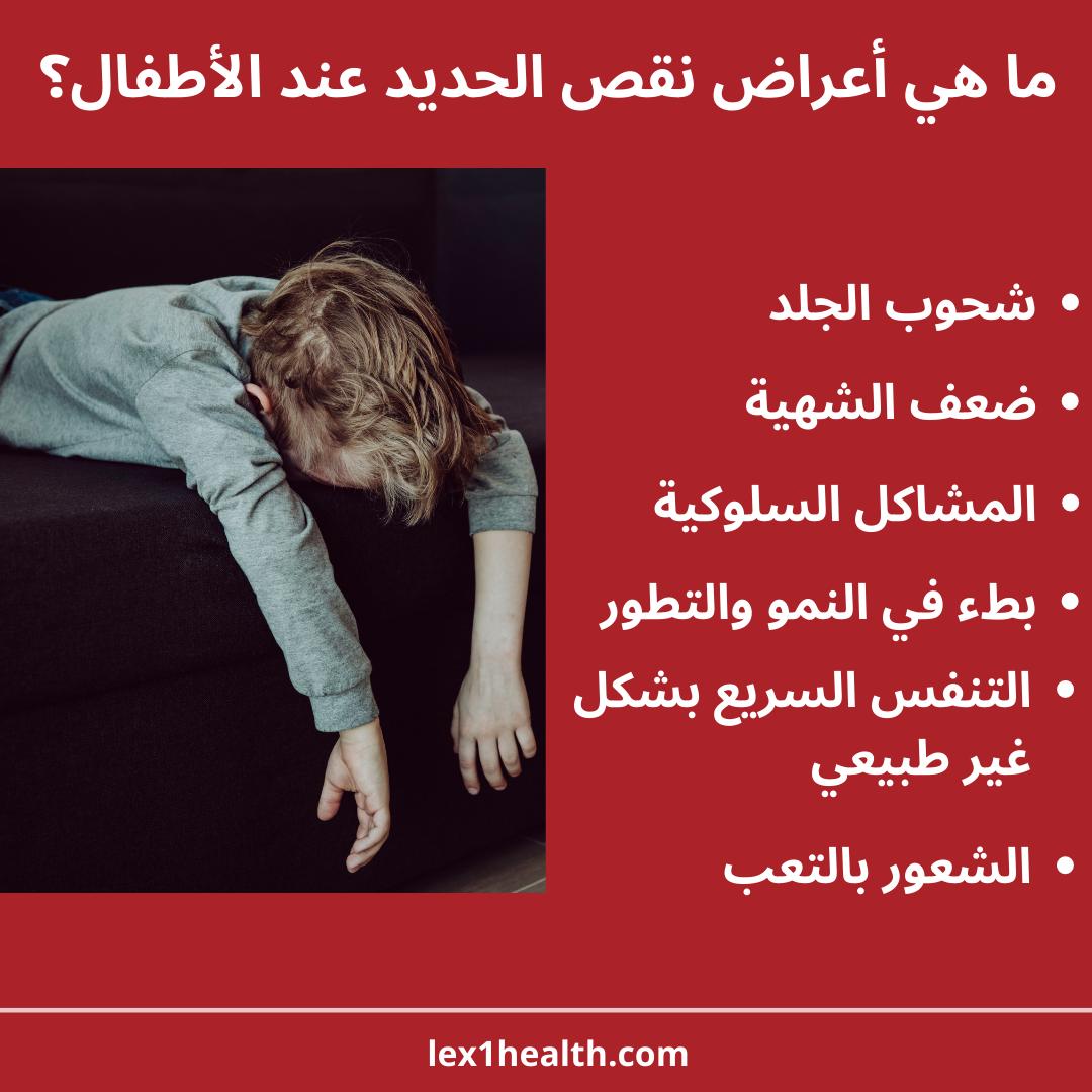 لا تظهر معظم أعراض وعلامات نقص الحديد عند الأطفال إلا عندما يصاب الطفل بفقر الدم الناتج عن نقص الحديد إلا أن أهم ما يمكن ملاحظته عند حدوث نقص الحديد هو Health