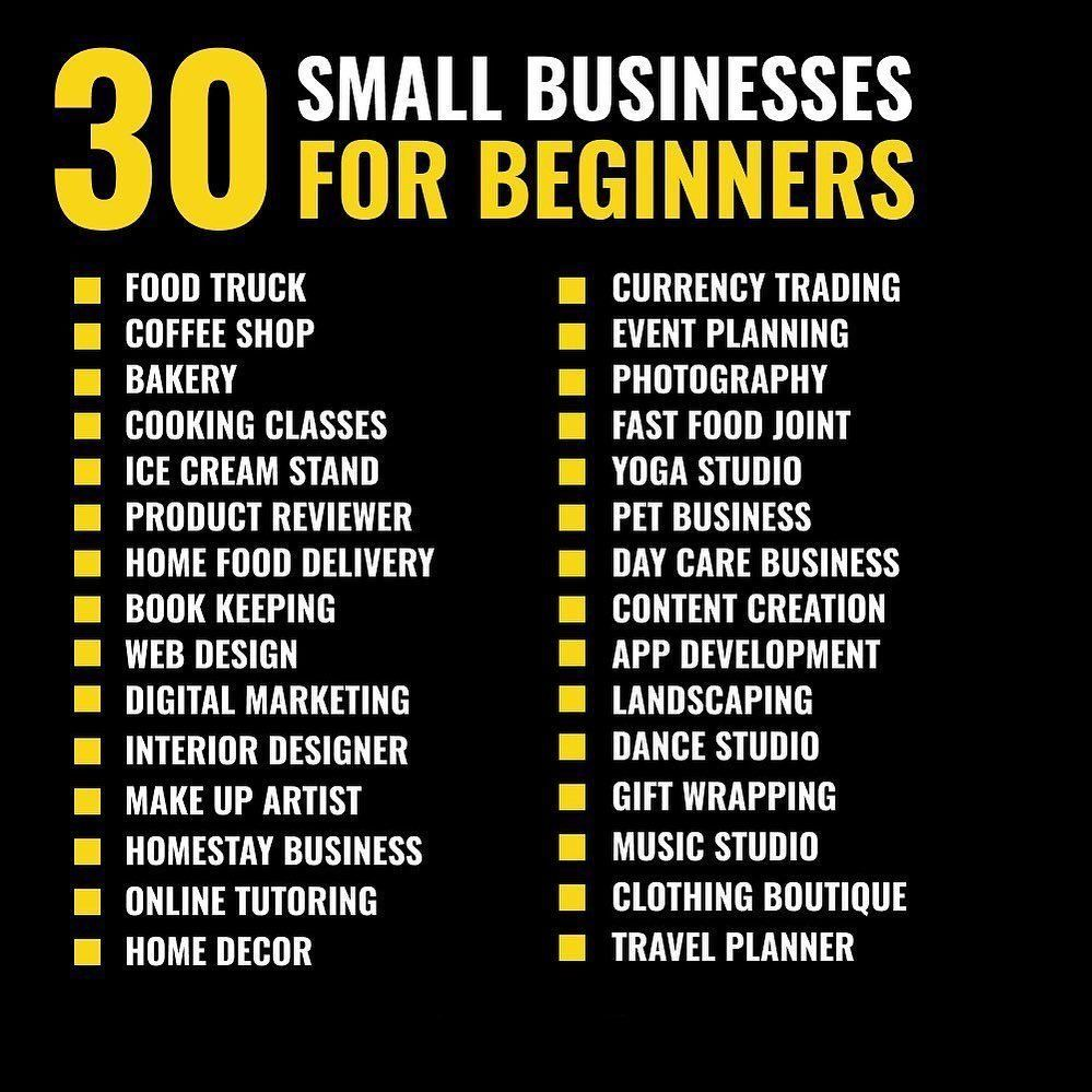 30 small business for beginners Follow Me On INSTAGRAM