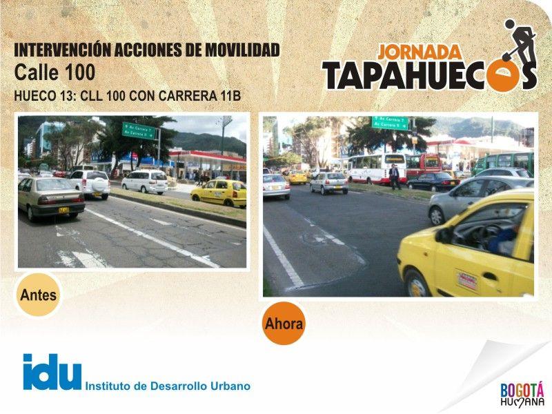Intervención Acciones de Movilidad en la Calle 100 con Carrera 11 B. #TapaHuecos