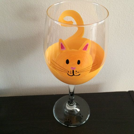 Cat Wine Glass By Whitehotdesign On Etsy Wine Glass Painted Wine