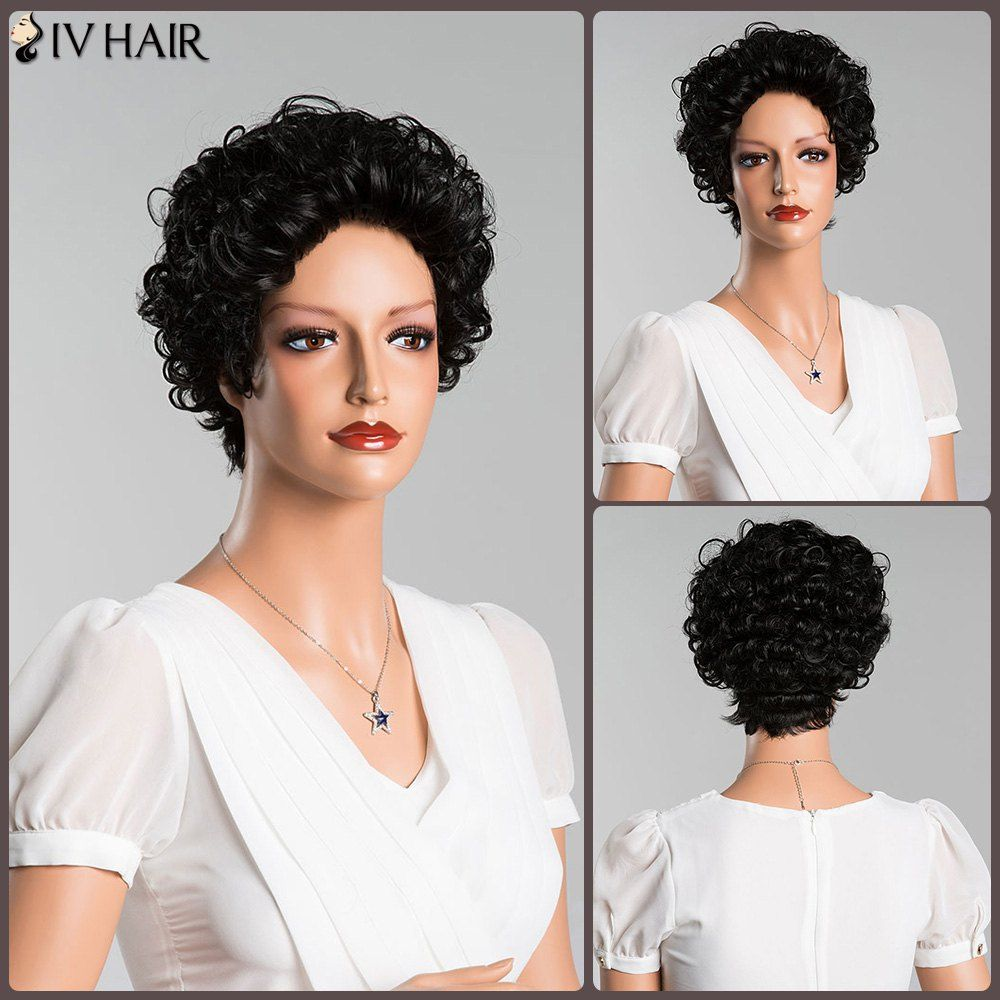 Short curly pure color human hair wig women men hats watches