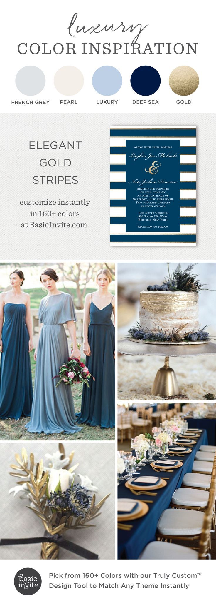 Blue and gold wedding decor  Elegant Gold Stripe Wedding Invitations Blue Wedding Inspiration