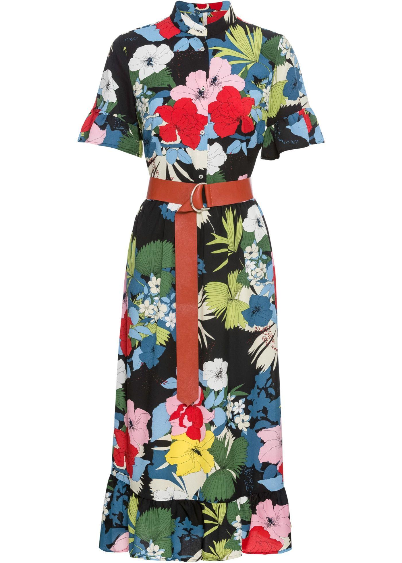 Kurzarmliges Midi Kleid Mit Gurtel Und Kragen Schwarz Bunt Geblumt In 2020 Kleid Mit Gurtel Kleider Modestil