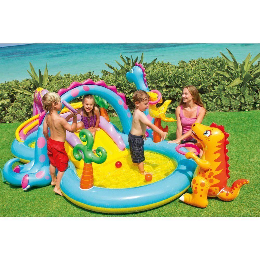 Kids Inflatable Pool W Slide Baby Swimming Dinosaur Activity Center Outdoor Toy Inflatable Swimming Pool Kiddie Pool Children Swimming Pool